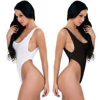 Women Yoga Swimsuit One-piece Thong Leotard High Cut See-through Bikini Bodysuit