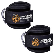 DMoose Fitness Ankle Straps for Cable Machines - Stainless Steel Double D-Ring