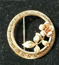 Vintage KREMENTZ Signed Rose Gold Filled Brooch Pin Round Filigree Floral