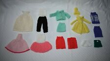 """Barbie 12"""" Dolls 60's 70's Vintage 9 Outfits Lot #2 Handmade Crocheted Knitted"""