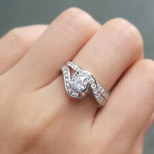 Silver Engagement Wedding Ring Set Size 8 Newshe 1ct Round White Cz 925 Sterling