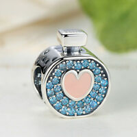 DIY European .925 Sterling Silver Blue CZ & Crystal Charm Bead with Pink Enamel