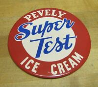 PEVELY SUPER TEST ICE CREAM Sign Old Red White Blue Americana Button Design