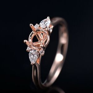 Natural Diamond Halo Semi Mount Ring Setting Round 6.0mm Solid 14K Rose Gold