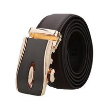 "Men Automatic Leather Belt Double Stitch Edge Wide 1 1/2"" Dark Brown 130cm"