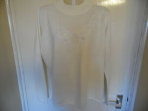 Ladies Cream Long Sleeve, High Neck Jumper with Beaded Embroidered Detail size M