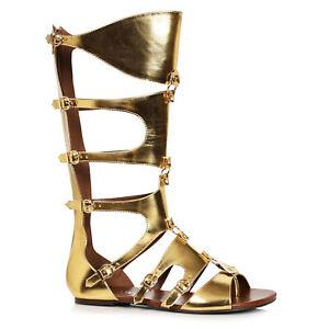 Ellie 031-THEON Men's Gold Gladiator Renaissance Medieval Soldier Flat Sandals