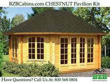 "BZBCabin.com CHESTNUT Pavilion Kit, Inside: 215/SQF, 1-3/4"" Wall Thickness, Sale"