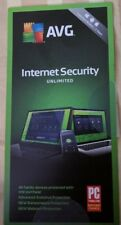 AVG Internet Security 2018 Unlimited Devices 2 Year Keycard- Brand New Free Ship