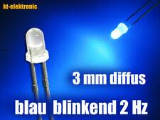 10 Stück BlinkLED 3mm blau matt diffus blinkend, 2 mal pro Sekunde 1.5-2.5 Hz