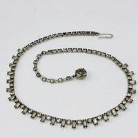 "Vintage Rhinestone Crystal Necklace Baguette Round Stones 15"""