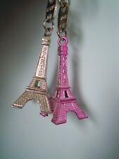 Two Eiffel Tower Metal Keyrings.Paris Souvenir.Silver/ Pink. NEW. Gift Idea.