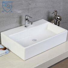 White Rectangle Ceramic Vanity Art Basin Porcelain Bath Vessel Washing Sink Bowl