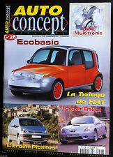 AUTO CONCEPT N°28 du 1/2000; Audi Multitronic/ Ecobasic/ Picasso/ Twingo de Fiat