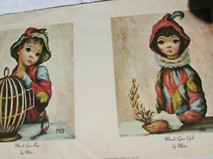 Vintage Jean Maio Harlequin Boy Girl Big Eye 53031