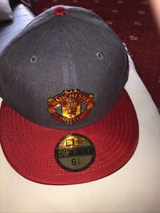 Manchester United New Era 59FIFTY Baseball Cap GREY / RED Official NEW UK ITEM 1