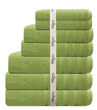 7 Pce 575Gsm Egyptian Cotton Towel Set 2x Bath / Hand / Face Towels 1x Mat Green