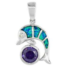 Sterling Silver Opal Dolphin Pendant w/ Round  Amethyst Color CZ Stone