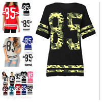 Ladies  Women 85 Varsity T-shirt American Football Baseball Jersey Top Size 8-14
