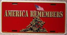 Aluminum Military License Plate America Remembers Iwo Jima USMC Marine Corps NEW