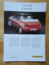 KARMANN VOLKSWAGEN Golf Cabriolet Convertible rare 2001 Sales Brochure - VW