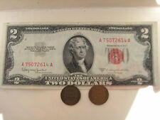 3/Set: One Red Seal Us$2 Bill Paper +Two Old One Cent Usa Coins,Value Sale Rare!