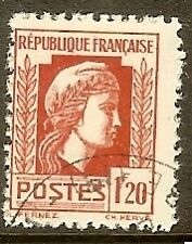 "FRANCE TIMBRE STAMP N°638 "" MARIANNE D'ALGER 1F20 "" OBLITERE TB"
