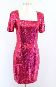 Vtg 90s Niteline Raspberry Red Pink Sequin Beaded Party Dress Size 6 Square Neck