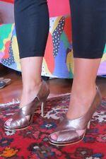 Scarpe in pelle da donna BATA tacco 11 colore oro/bronzo nuove