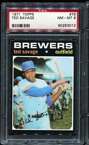 1971 Topps Baseball #76 TED SAVAGE Milwaukee Brewers PSA 8 NM-MT