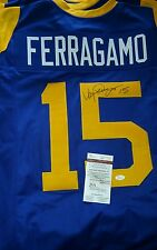 Lot of (2) JSA VINCE FERRAGAMO LA Rams Autographed HOME & ROAD Jersey