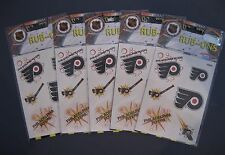 PHILADELPHIA FLYERS RUB-ON DECALS LOT OF 5 SHEETS NEW IN PACKAGE NHL LICENSED
