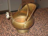 Vtg Copper Brass Fireplace Coal Scuttle Pail Ash Bucket Delft Handles Lion Head