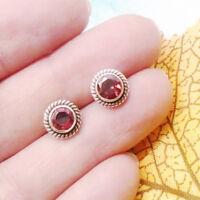 Granat rot red rund Design Ohrringe Ohrstecker Stecker 925 Sterling Silber neu
