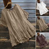 ZANZEA 10-24 Women Summer Top Tee Shirt Plus Size Crochet Floral Lace Blouse HOT
