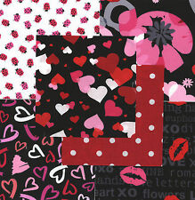 "Valentine's Hearts 30 4"" fabric squares quilt cotton quilting holiday floral"