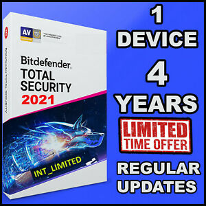 BITDEFENDER TOTAL SECURITY 2021 EDITION - 4 YEARS - SINGLE DEVICE ACTIVATION