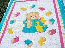 "Baby Crib Blanket Quilt Hand Made 41"" x 33"" Tumbling Teddies Ducks Bunnies"