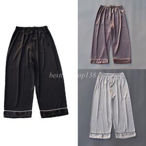 Men Satin Silk Pajama Capri Pants Sleepwear Cropped Lounge Bottoms