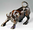 Big Wall Street Bronze Fierce Bull OX Statue 8inch(Length)