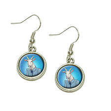 Dangling Drop Charm Earrings Portrait of a Goat