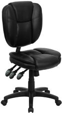Black LeatherSoft Multi-Function Armless Home Office Desk Task Computer Chairs