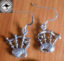 BAGPIPE Scottish Earrings. Aussie Pewter..925 Silver Hooks. Piper,Kilt,Bon Scott