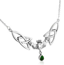 """Sterling Silver Celtic Claddagh Trinity Knots Emerald-Green Glass 17"""" Necklace"""