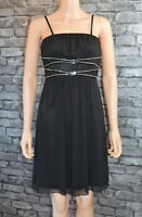 Women's Pretty Black Sleeveless Bustier Floaty Voile Party Mini Dress UK Size 12