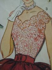 Vintage 40s Simplicity SCALLOPED NECKLINE ARMLINE BLOUSE Sewing Pattern Women