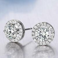 Women's 18K White Gold Plated Crystal Zircon Inlaid Ear Stud Earrings Jewelry GA