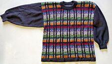 "Alpaca Wool Sweater Handmade Peru Sz Small Multi-Color 42"" Oversized"