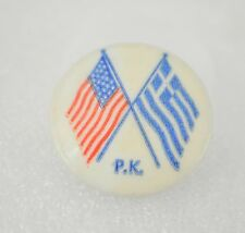 Vintage Pinback Button P.K. Flag Button