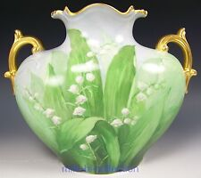 BEAUTIFUL LIMOGES HAND PAINTED LILIES OF THE VALLEY PILLOW VASE